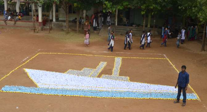 world record paper boat mosaic